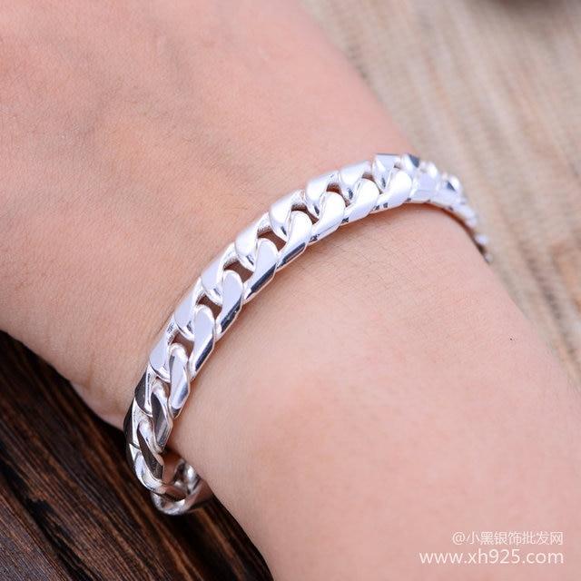 Black silver jewelry wholesale 925 sterling silver jewelry woven fashion European style bracelet for men xh046234