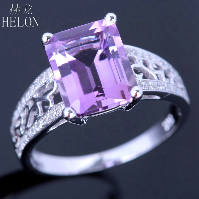 цены HELON Soild 10K White Gold Flawless 10x8mm Emerald Cut 3.24ct Genuine Amethyst 0.2ct Diamonds Engagement Women Fine Jewelry Ring