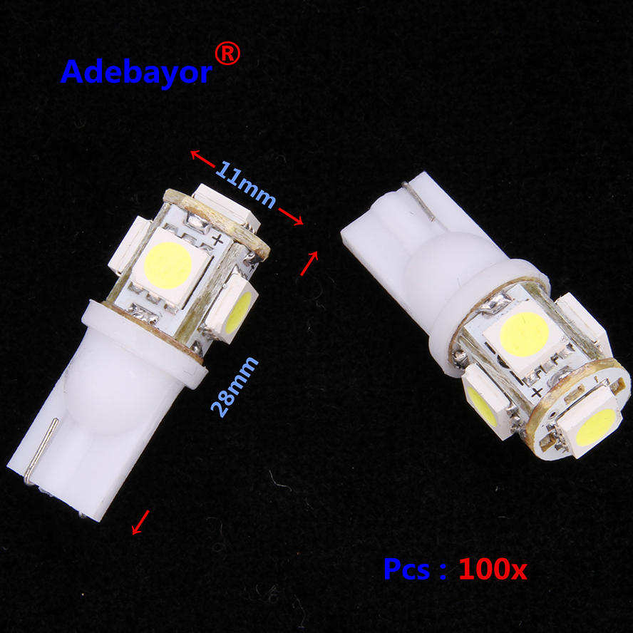 Toptan 100 adet promosyon T10 5050 5SMD araba sinyal led ışık 194 168 192 W5W 12v oto kama aydınlatma DC 12V lamba beyaz mavi