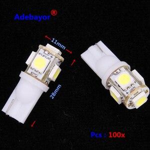 Wholesale 100pcs Promotion T10 5050 5SMD Car signal LED Light 194 168 192 W5W 12v Auto Wedge Lighting DC 12V lamp white blue