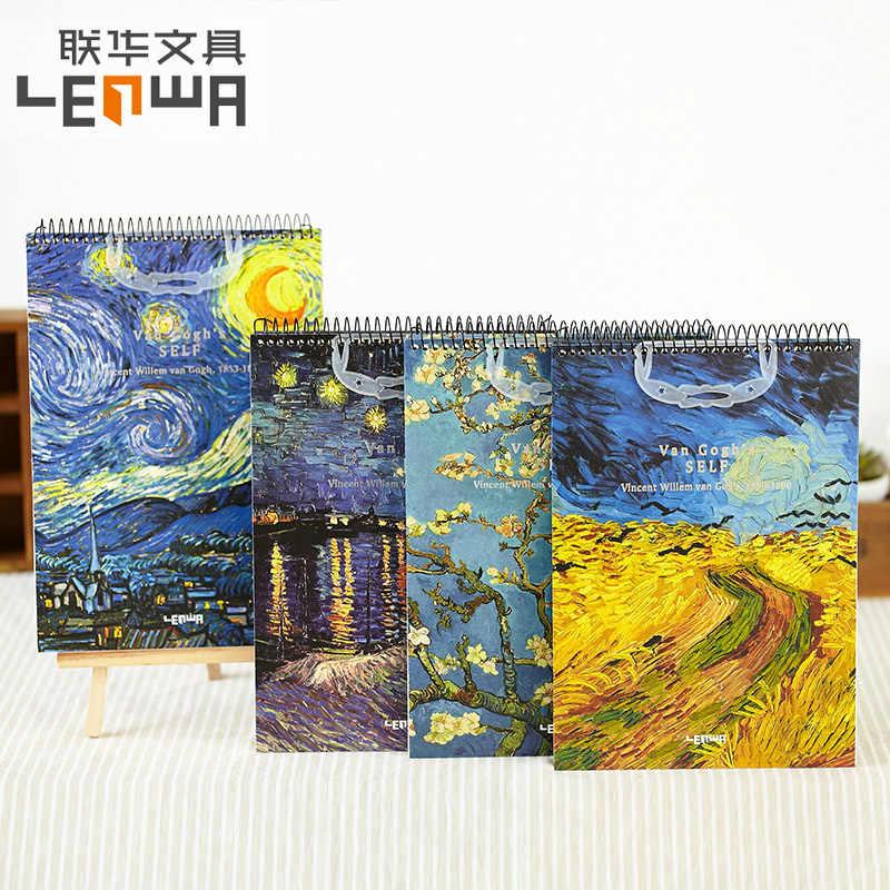 Lenwa Classic Van Gogh Series Sketchbook Coil Notebook Blank Inner