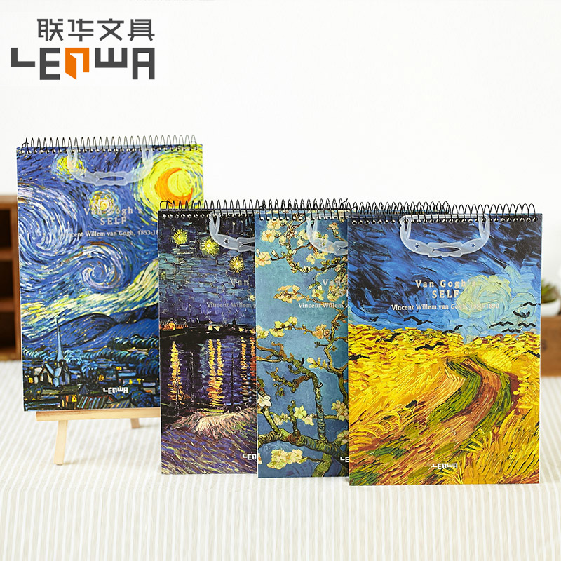 LENWA Classic Van Gogh Series Sketchbook Coil Notebook Blank Inner Page Sketchbook B5 1PCS lenwa classic van gogh series notebook a6 vintage business carry small portable notebook 1pcs