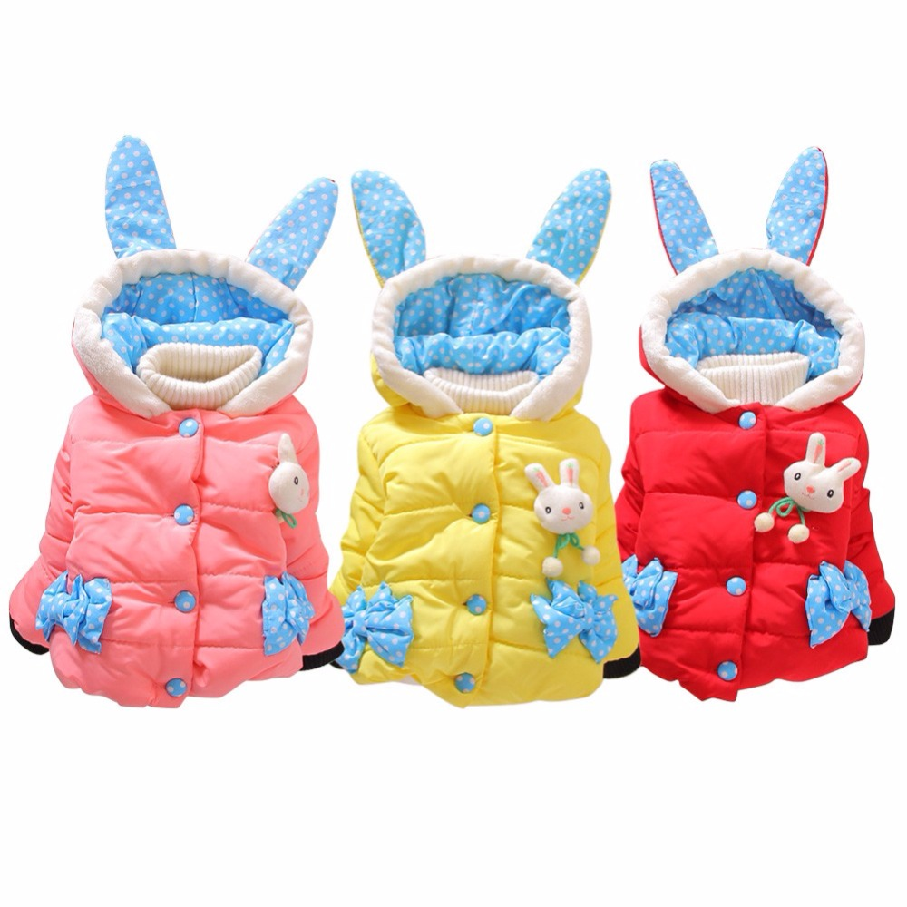 Qianquhui Baby Girls Clothes Rabbit Ears Hoodie Coats Infant Toddler Winter Warm Down Jacket For Girls Outwears Coat Clothing down the rabbit hole