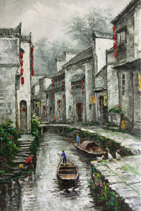 Расписанную Пейзаж густое масло холст Картина китайского регион реки и озера абстрактная стена в искусстве для украшения дома ...