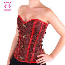 Sexy Steampunk Corset Corselet Overbust Floral Pattern Burlesque Bustier Corpete Steel Boned Body Shaping Womens Clothing