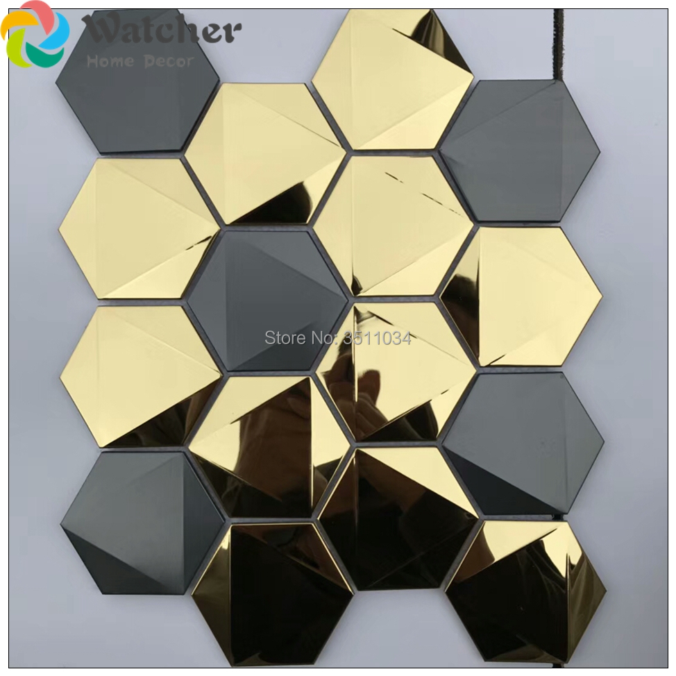 10 Sheets Peel and Stick Metal Mosaic Decorative Wall Tile, 12\'\' X ...