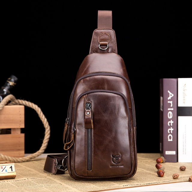 Bull Captain Genuine Leather Crossbody Bags Men Shoulder Chest Fashion Travel Handbags Man