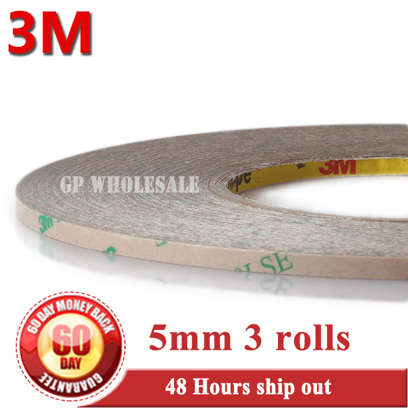 3 Rolls (5mm*55M*0.17) Strong Sticky 3M 9495LE Transparent Waterproof for LED Light Panel Nameplate Screen Bond, Heat Resist