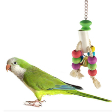 1Pcs Parrot Toys Chewing Bite Cotton Rope Bell Bird Parakeet Hanging Cage Toy bird toys birds accessoires Supplies
