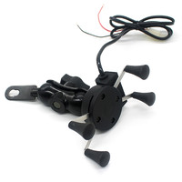 Motorcycle Stand Holder USB Charger Power Outlet Socket For Iphone 6 5