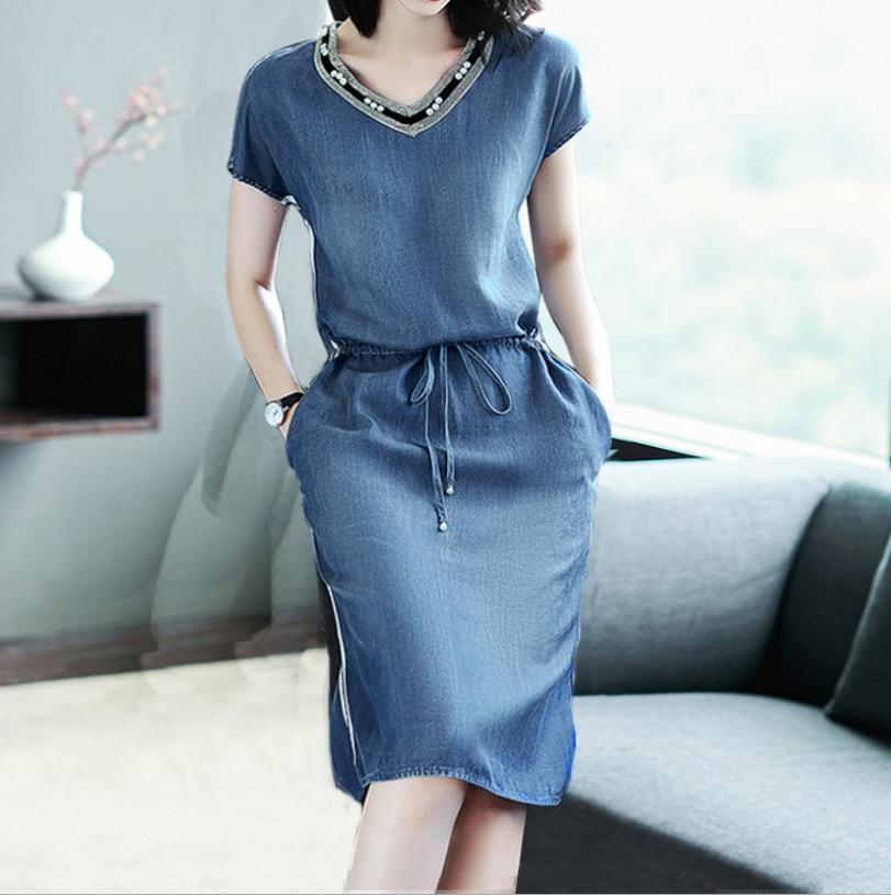 Синие джинсовые летнее женское платье новые модные с коротким рукавом v-образным вырезом полоса Свободные повседневные женские платья плюс размер