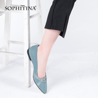 SOPHITINA Genuine Leather Flats Green/ Black Sheepskin Suede Elegant Pointed Toe Woman Shoes Handmade Shallow Fashion Flats P106