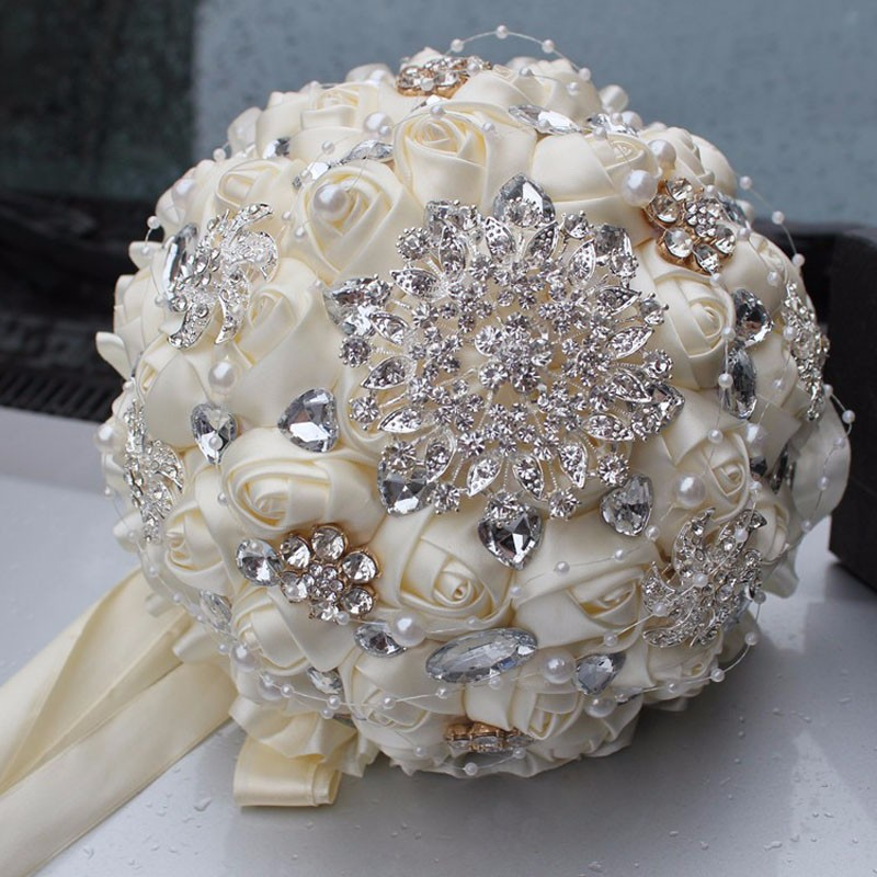 Best-Selling-Price-Ivory-Cream-Brooch-Bouquet-Wedding-Bouquet-de-mariage-Polyester-Wedding-Bouquets-Pearl-Flowers