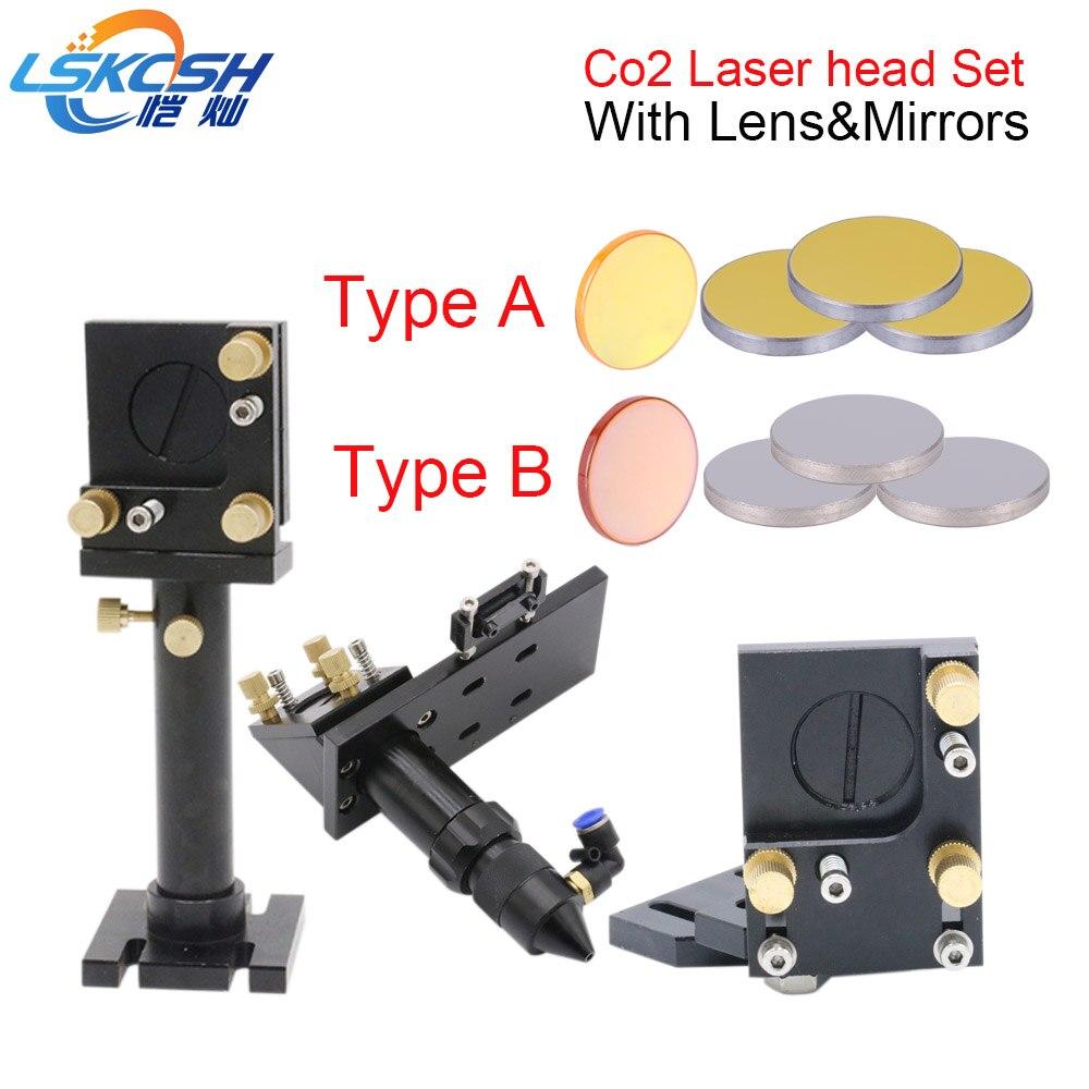 LSKCSH Co2 Laser Head Set Mirror Mounts Holder 1pcs Focusing Lens 3pcs Si Mo Reflective Mirrors