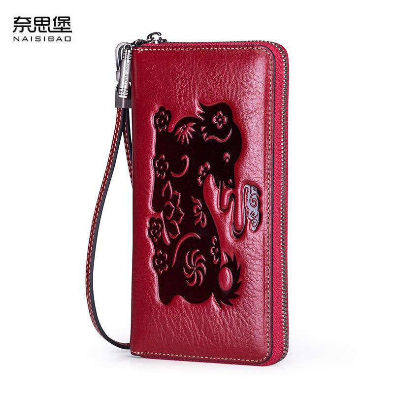 Famous brand top quality Cow Leather women bag 2018 new fringed long wallet Retro Chinese style embossed Clutch Wallet famous brand top quality cow leather women bag 2015 new retro chinese style handbag embossed shoulder messenger bag