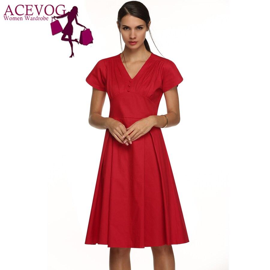 837bd7f49c ACEVOG Marka Kobiety W Stylu Vintage 50 s Rockabilly Sukienka Tunika Mody  Pani Huśtawka Plisowana Midi Stałe Lato Casual Dress Vestidos Urząd