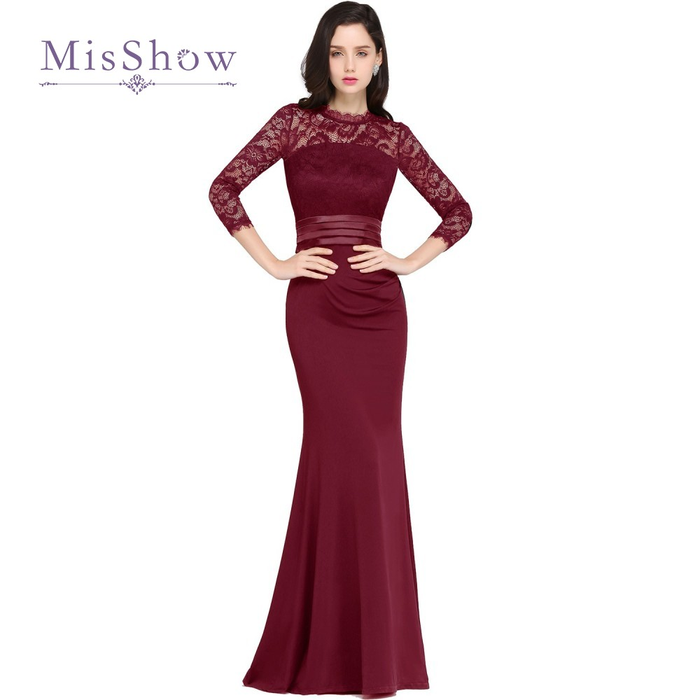 Cheap Burgundy Mermaid Long Formal Evening Dresses 2017 ...