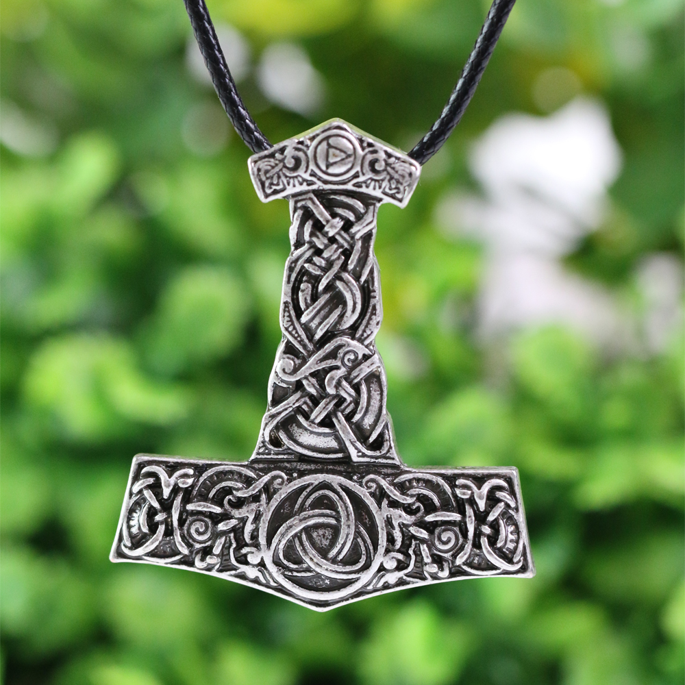 1pcs Nordic Thor s Hammer with Dragon and God s Horn Pendant Necklace Original Animal Talisman