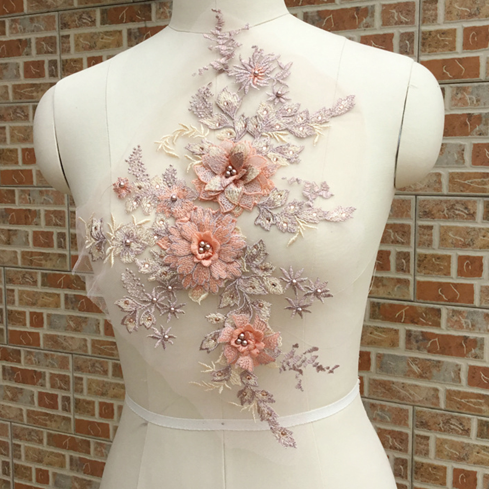 Apparel Sewing & Fabric Objective Women 3d Embroidery Wedding Elegant Bridal Dress Diy Floral Beaded Tulle Lace Applique Stage Costume Part To Be Renowned Both At Home And Abroad For Exquisite Workmanship Skillful Knitting And Elegant Design