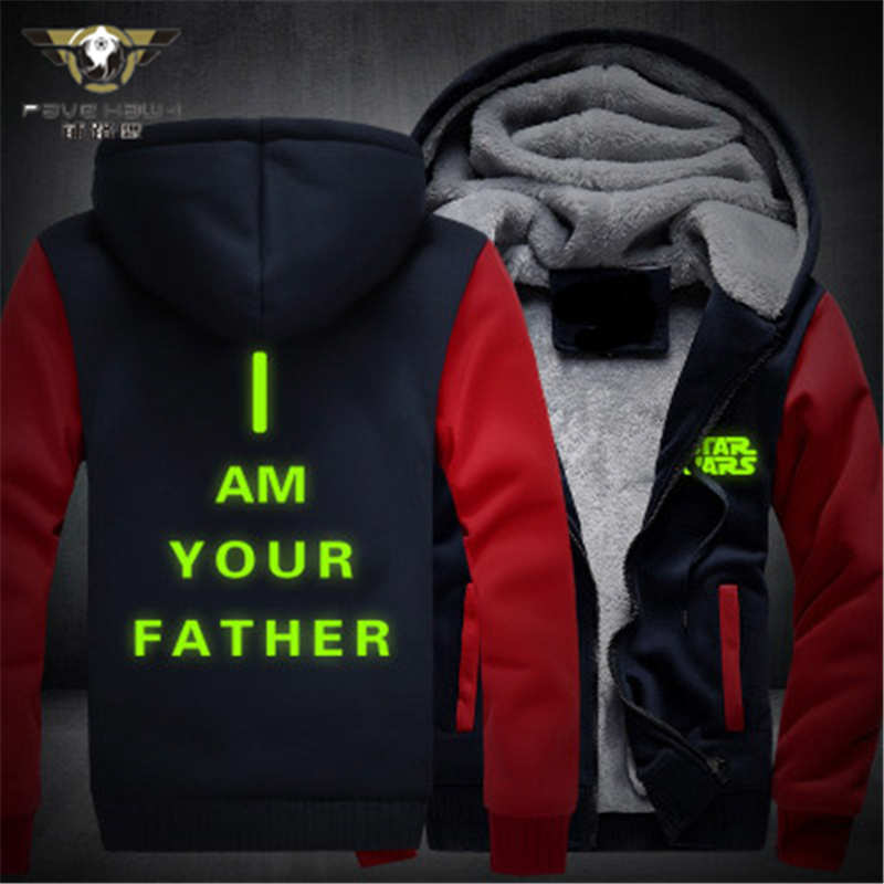 Dropshiping Unisex Cold Proof Thicken Hoodie Jacket Sweatshirts Star Wars Cosplay Coat Zipper Fleece MEN WOMEN