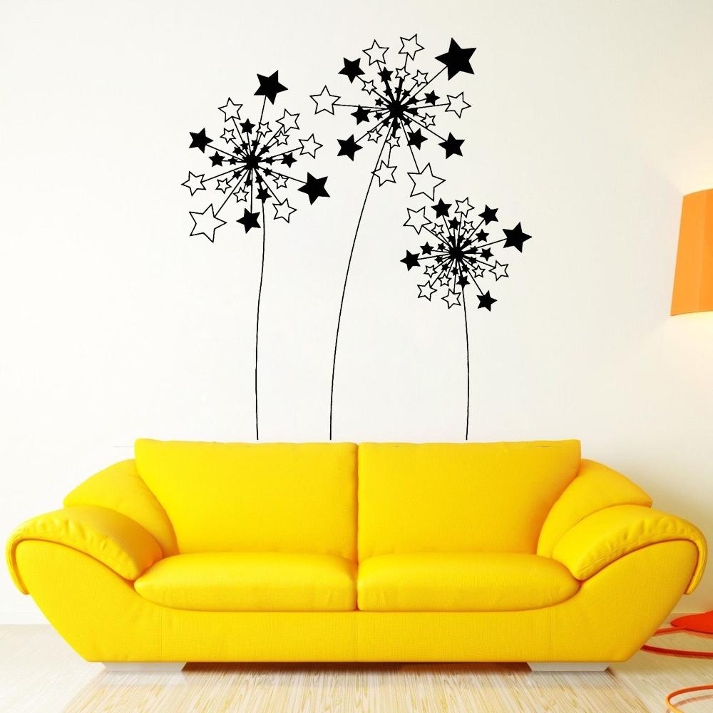 Stars Dandelions Flowers Vinyl Wall Stickers Bedroom Self Adhesive ...