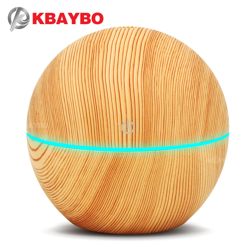 KBAYBO 130ml Ultrasonic Air humidifier Electric Aromatherapy Essential Oil USB Aroma Diffuser cool mist maker 7 color light