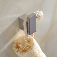 Silver SUS 304 Stainless Steel Solid Square Bathroom Robe Hook Bathroom Accessories Set Cloth Hook