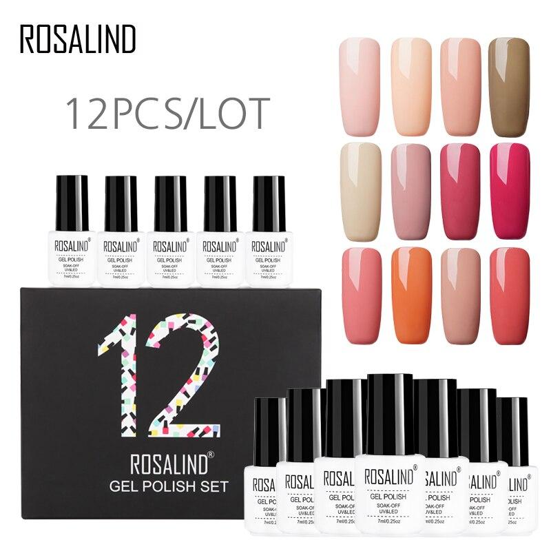 12PCS/LOT Gel Nail Polish Set For Manicure Tools ROSALIND Base Top Coat Semi Permanent Acrylic Nail Kit Art Set Primer