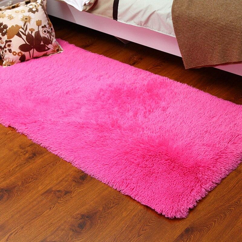 40 60cm Soild Pink Red Colour Carpet Bedroom Decorating Door Mat Floor Carpet Warm Colorful Living