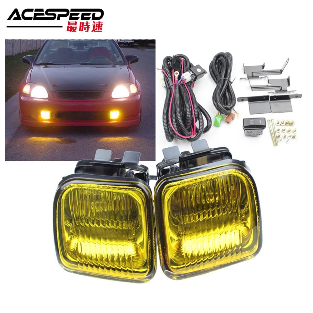 For 1996-1998 Honda Civic Yellow Bumper Fog Lights w//Switch