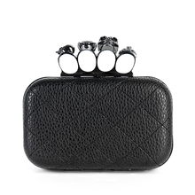 2018 New Hot Evening Bags  skull ring day clutch  faux chain fashion women's handbag shoulder bag