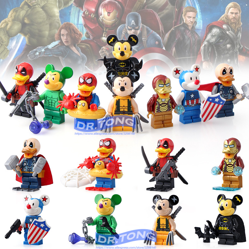 DR.TONG 80pcs/lot SY670 Super Heroes Deadpool Spider-Man Iron Man Thor Duck Figure Building Blocks Bricks Education Action Toys dr tong 80pcs lot sy670 super heroes deadpool spider man iron man thor duck figure building blocks bricks education action toys