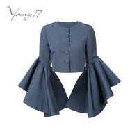 Young17 Autumn Shirts Pullover Ruffles Sleeve Elastic Patchwork Button Women Sexy Fashion New Blue Autumn Girl