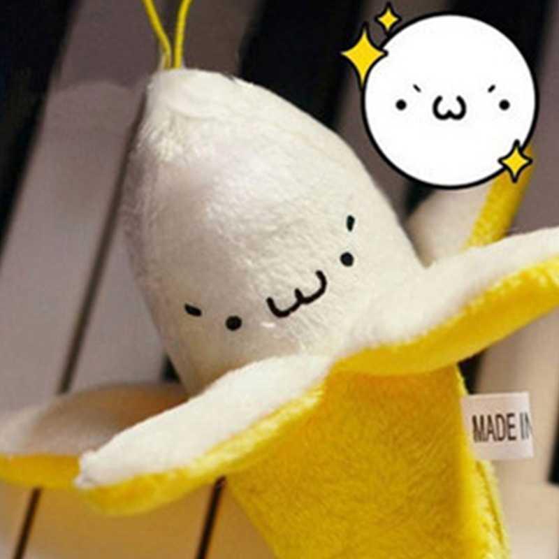 Moda lindo Emoji Banana de peluche de juguete llavero anillo teléfono abalorio mujer bolso dijes pompón muñeca llavero niñas fiesta regalo de boda
