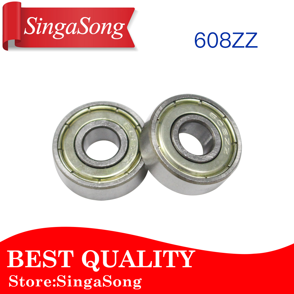 10pcs Double Shielded Miniature High-carbon Steel Single Row 608ZZ ABEC-5 Deep Groove Ball Bearing 8*22*7 8x22x7 MM 608 ZZ