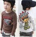 Hot sale  Size100~130 boys tops tees girls t shirts children clothing kids long sleeve T-Shirt  indians