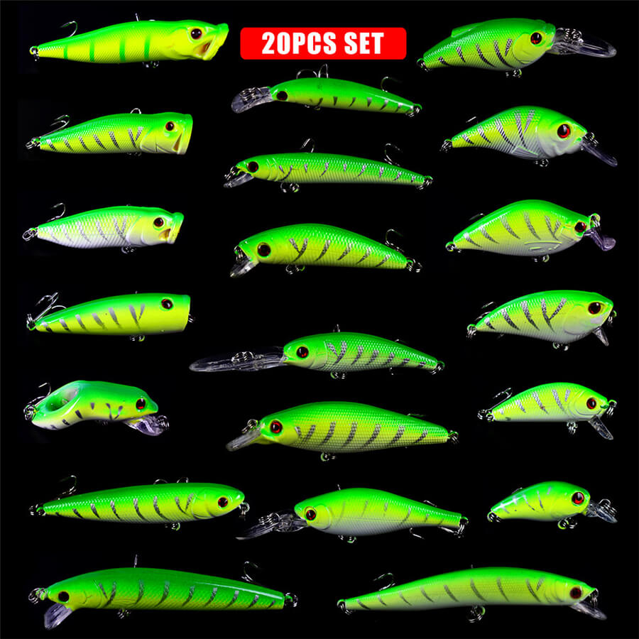 20pcs Assorted Bionic Minnow Fishing Lure Crankbait Hard Plastic Bass Bait Swimbait Artificial Sea Ice lake Ocean Rock Fly Lure