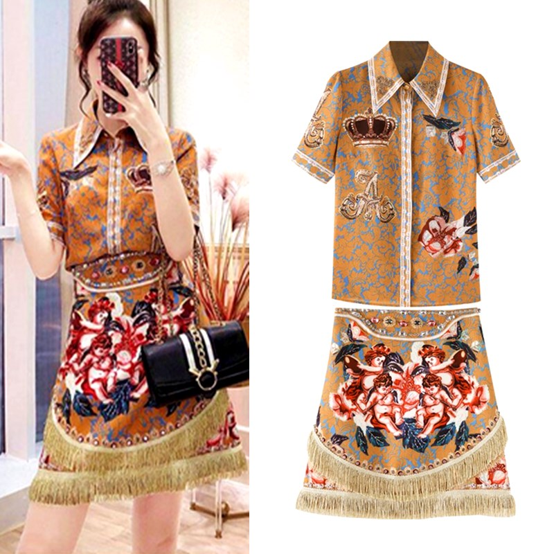 Women Spring Summer Clothing Set Fashion Runway Vintage Floral Print Shirts Short Sleeve Blouse Tassels Skirts Suit Sets NS237