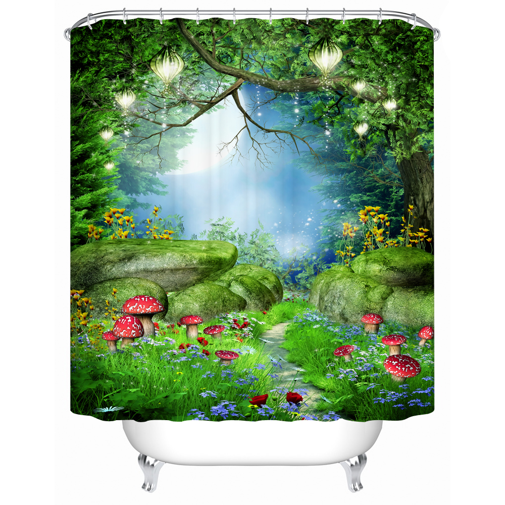 Green Shower Curtain Forest Waterfall 3d Printing Polyester Curtains In  Bathroom Window Bathtub Decor(China