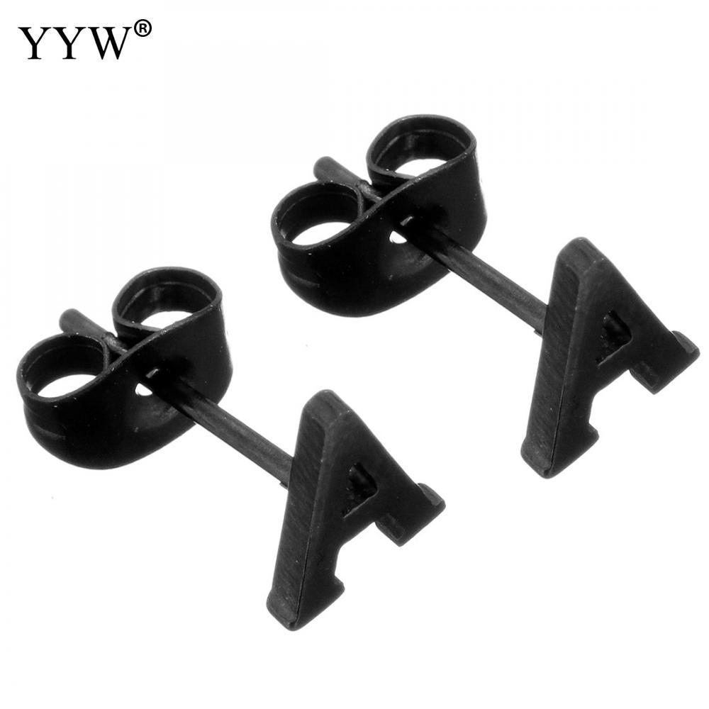 YYW Unisex Women Man Punk Hip Hop European Black Stainless Steel Stud Earrings Tiny Minimalist Letter A to Z Ear Studs Earrings