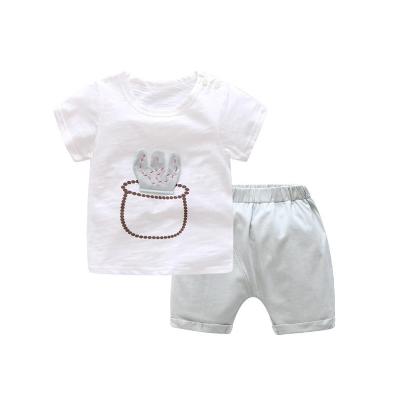 T-Shirt Suits Clothing-Sets Shorts Girl Baby-Boys Kids Cartoon Summer Cotton