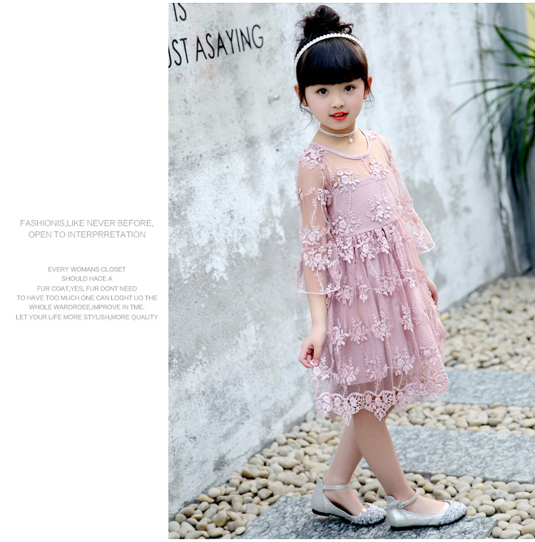 cd6a2e48669e 2-7Years Girls Lace Dress Fancy Kids Princess Casual Dresses Summer White  Pink Sundress Beach Wear O-Neck Outfits Prom Clothes