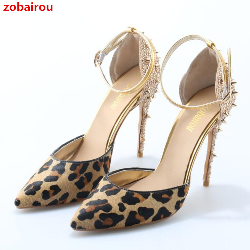 Zobairou Sexy Leopard Pattern Women Pumps Plus Size 34-43 High Heels Shoes Pointed Toe Ankle Strap Rivets Ladies Party Pumps pointed toe dress shoes ladies pumps high heels ankle strap footwear 4 34 small size crystal stiletto 2017 7cm 3 inch silver