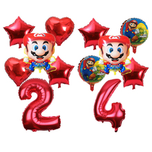 6pcs/set Super Mario 32inch Red Number Foil Balloon