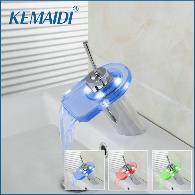 KEMAIDI LED Waterfall Faucets Bathroom Mixer Sink Glass Spout Chrome Hot And Cold Tap Bathroom Basin Set  Deck Mounted black led light waterfall deck mounted dual handles bathroom basin faucet tap with hot cold water glass spout