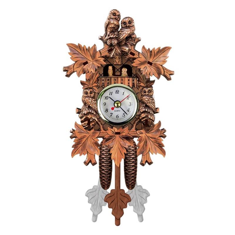 HOT SALE Vintage Home Decorative Bird Wall Clock Hanging Wood Cuckoo Clock Living Room Pendulum Clock Craft Art Clock For New