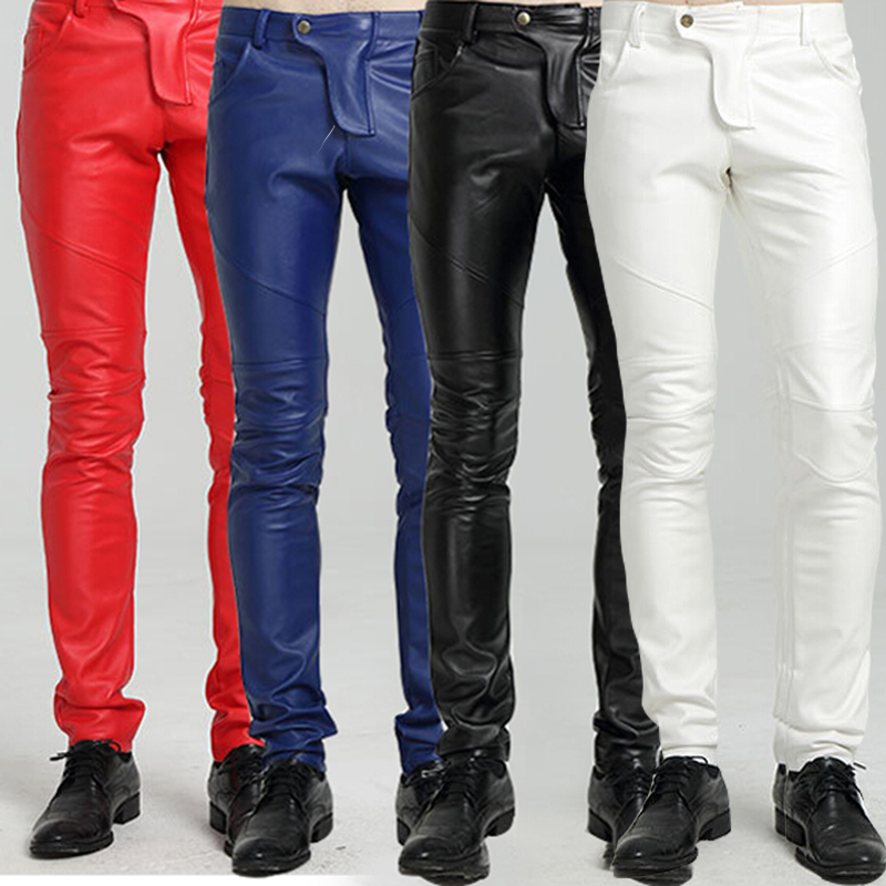 Quality PU Winter Line Sexy Red Slim Tight Male Leather Pant Men Motorcycle Black Skinny Biker Trouser Leather Jogger Blue White