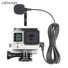 SOONSUN Skeleton Housing Case Side Open Protective Case + External Microphone Cable for GoPro Hero 3 3+ 4 For Go Pro Accessories