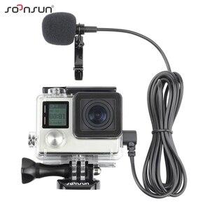 Image 1 - SOONSUN obudowa szkieletu obudowa boczna otwarta obudowa ochronna + zewnętrzny mikrofon kabel do GoPro Hero 3 3 + 4 do Go akcesoria pro
