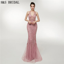 H S Bridal V neck evening dress sexy mermaid prom dress
